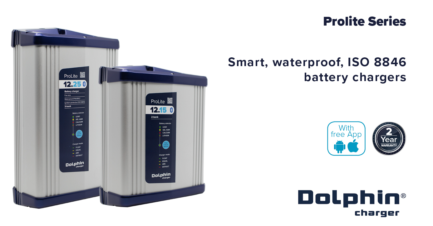 New Dolphin ProLite 12V marine battery chargers (15A and 25A)